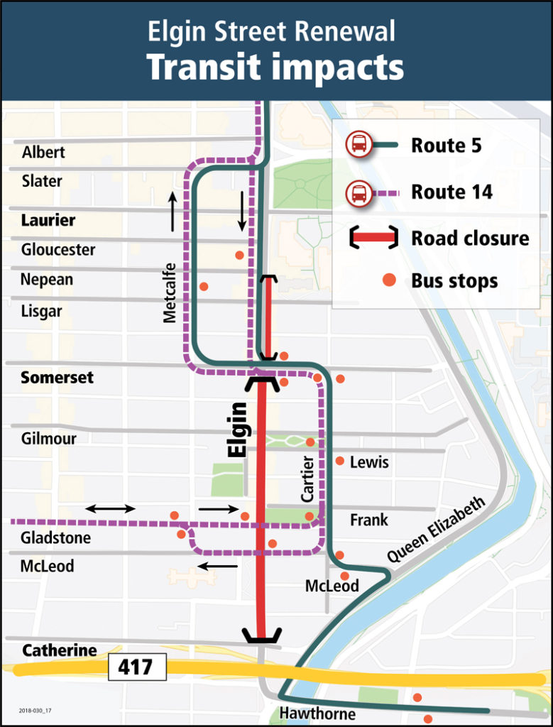 Elgin Street Closure - detour for transit users